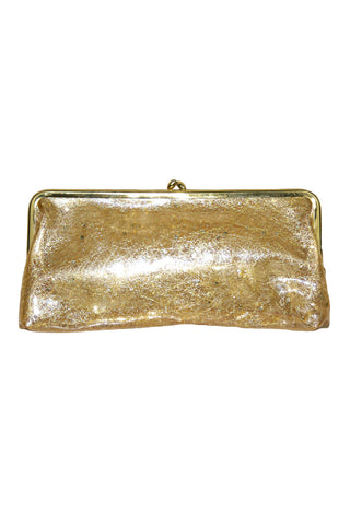 Gold-Flecked Transparent Clutch w/ Gold Toned Trim and Clasp
