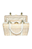 Blonde Wicker w/Off-White Patent Leather Trim and Gold Toned Trim