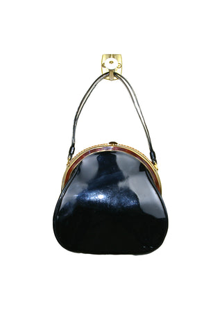 Crown Lewis, Black Patent Leather w/ Tortoise Shell Trim Handbag