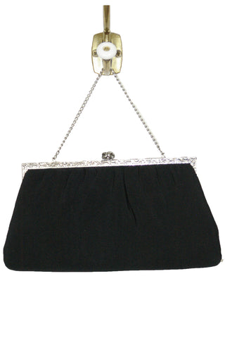 Black Ribbed Satin Clutch w/ Pewter Colored Etched Trim