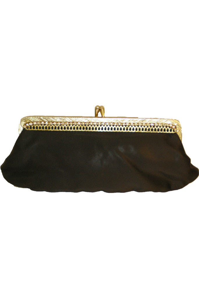Petite Black Satin Clutch w/ Rhinestone Rhinestone and Gold Trim