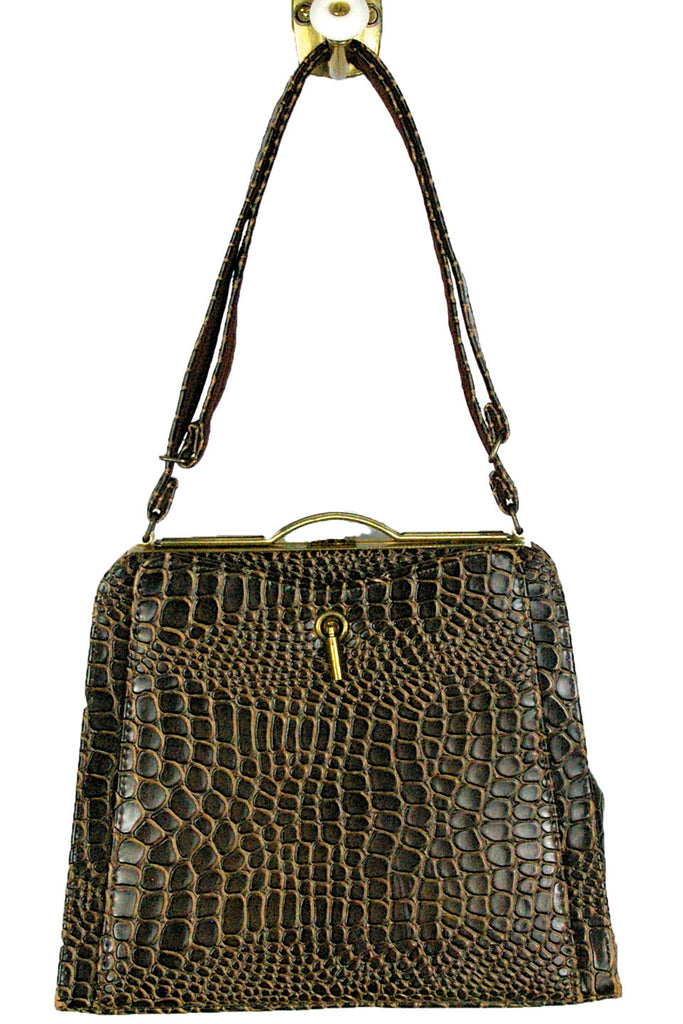 Mocha Faux Crocodile Embossed Leather Handbag w/ Gold Trim