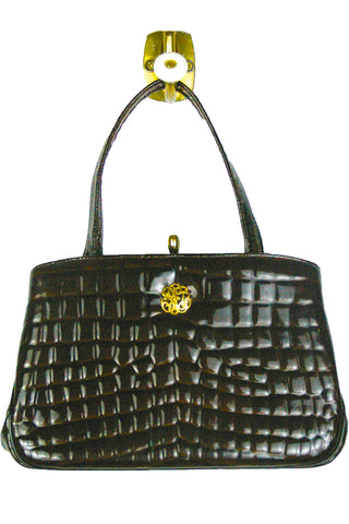 Dark Chocolate Patent Leather Crocodile Embossed Bag w/Monogram