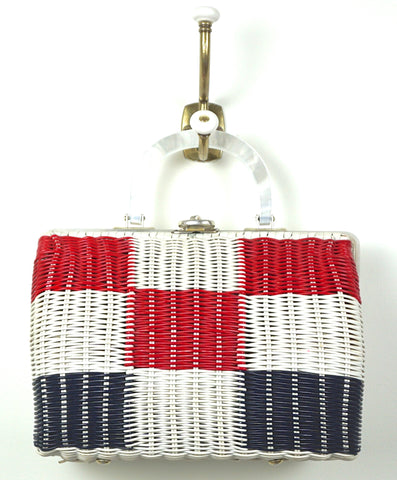 Red, White and Blue Wicker Handbag