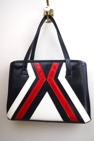 Geometric Red White and Blue Faux Leather Handled Bag