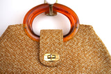 Butterscotch Tweed Handbag w/Oval Resin Handles
