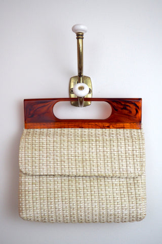 Woven Handbag w/Lucite Handle and Gold Chain
