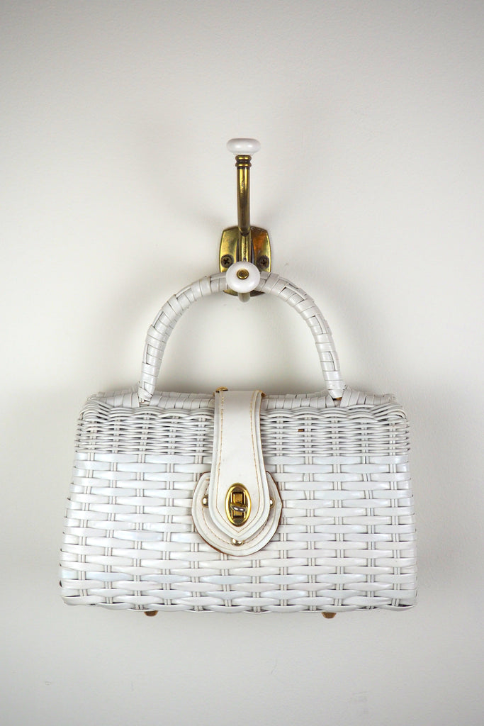 Classic White Wicker Handbag with Leather? Trim and Turn Closure
