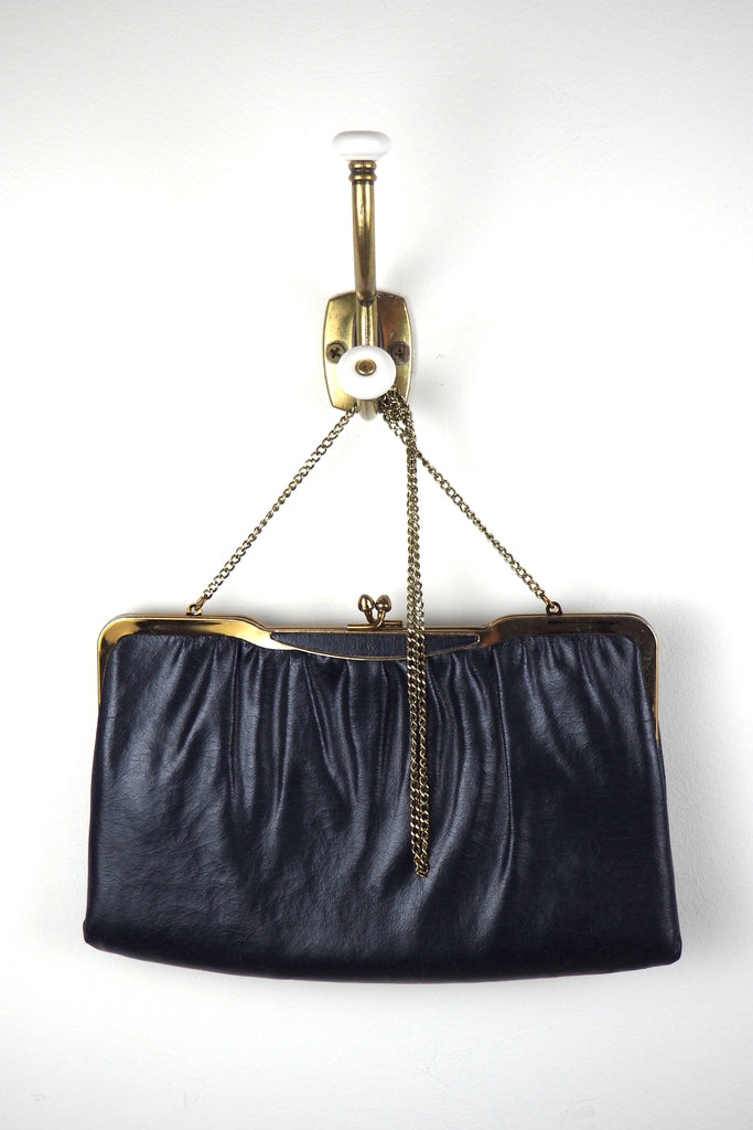 Navy Leather Clutch w/Gold Chain