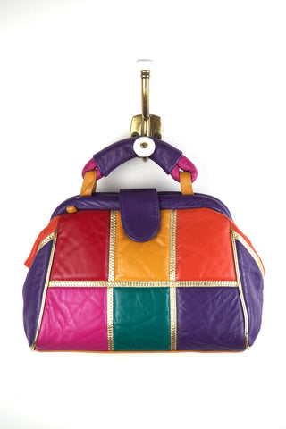 Funky Leather Patchwork Handbag w/Snap Closure