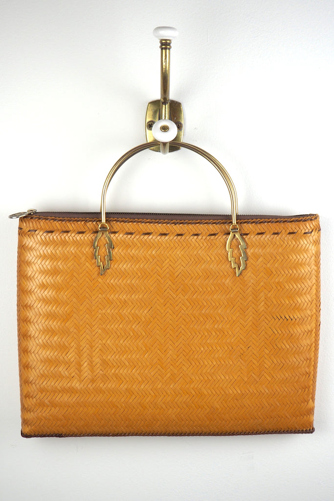 Woven Rattan Tote w/ Gold Drop Down Handles