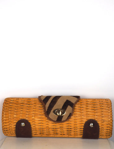 Wicker Clutch w/Tiger Print Pony Hair Closure