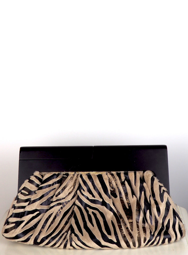 Fabulous Faux Fur and Leather Pattern Animal Print Bag w/Wooden Frame