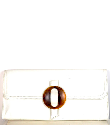 White Leather Clutch w/Tortoise Shell Accent