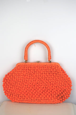 Clementine Orange Beaded Handbag