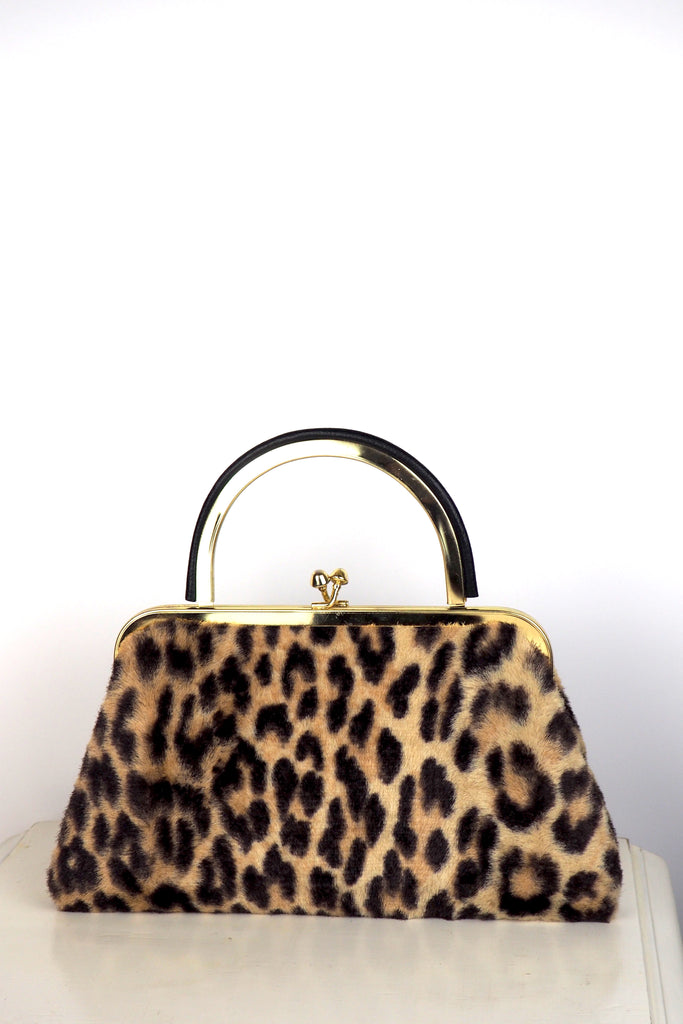 Leopard Print Faux Fur Bag w/Drop Down Handle