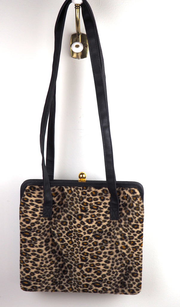 Faux Fur Leopard Print Bag w/Long Black Faux Leather Straps