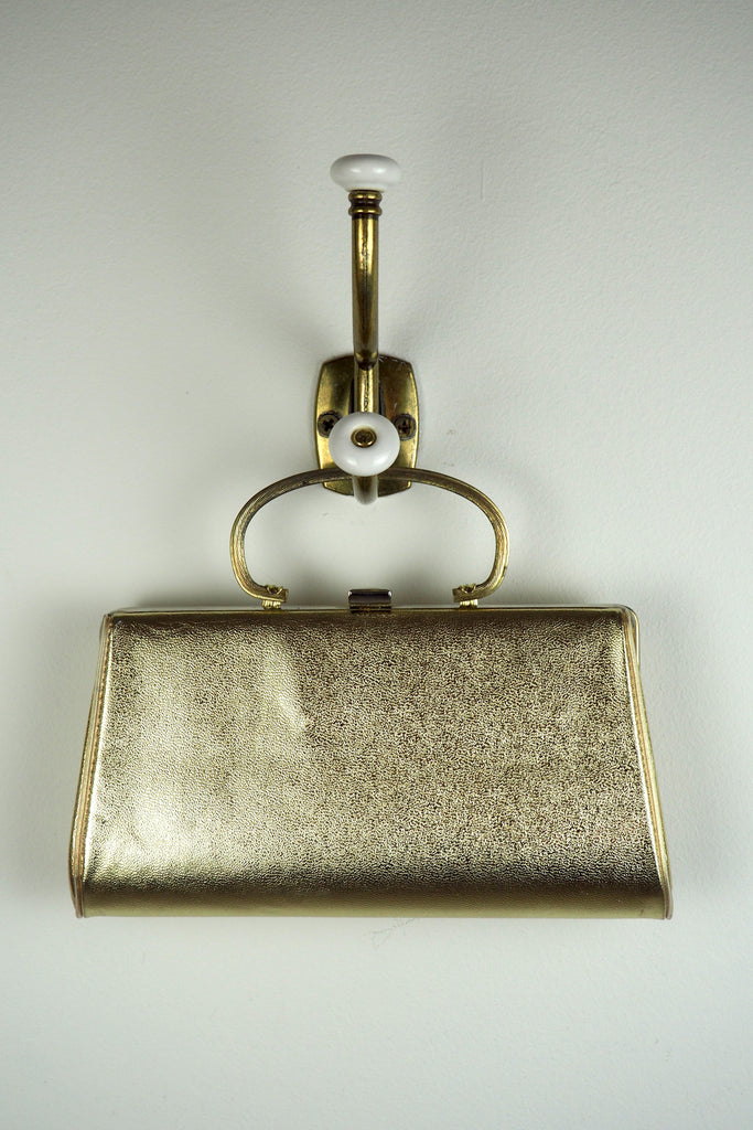 Metallic Gold Clutch w/Fold Down Handle