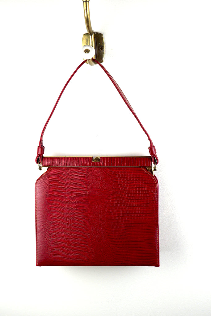 Scarlett Red Snakeskin Print Leather Bag