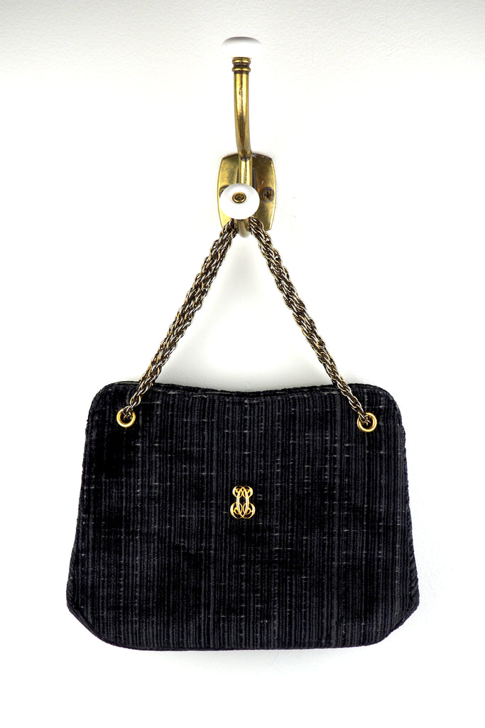 Textured Navy Velvet Handbag w/Gold Chain Handle