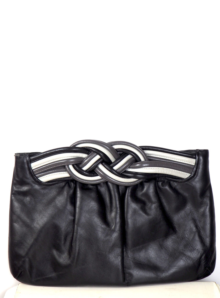 Gray and Black Braided Clutch w/Optional Shoulder Strap