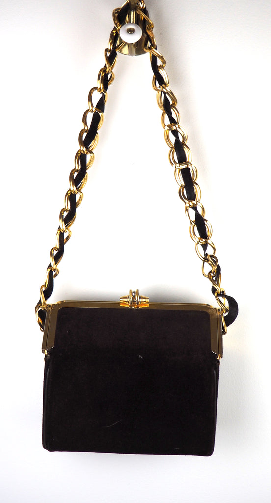 Chocolate Brown Suede Bag with Braided Chain Handle