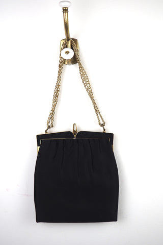 Black Silk Evening Bag w/ Gold Chain and Trim