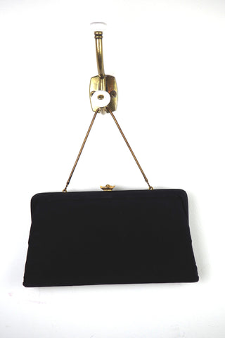 Beautiful Black Silk Evening Bag w/ Gold and Rhinestone Clasp
