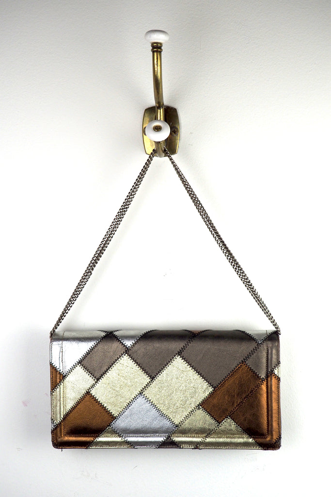 Metallic Patchwork Clutch