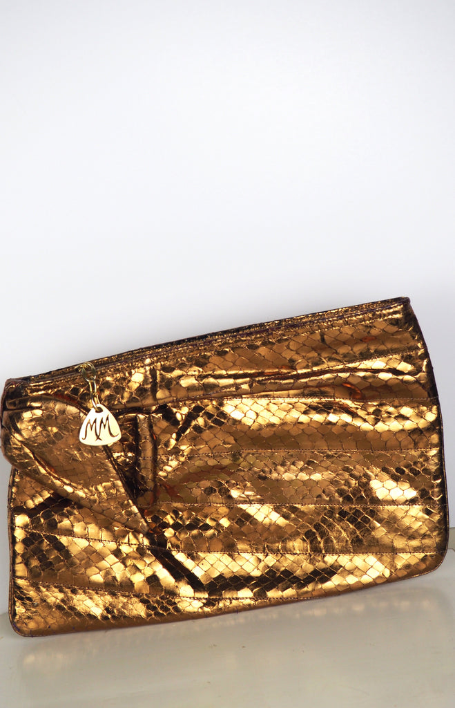 Gold Metallic Genuine Snakeskin Clutch