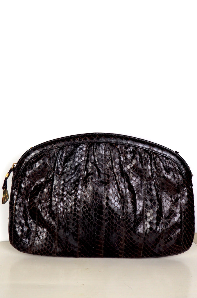 Dark Chocolate Genuine Snakeskin Clutch