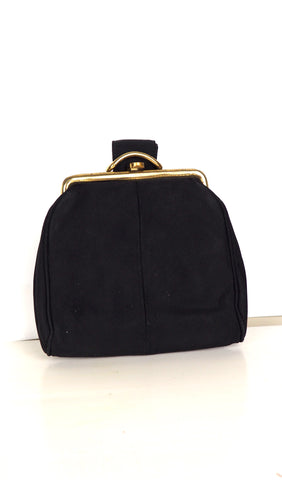 Black Evening Bag w/ Pull Through Fabric Handle