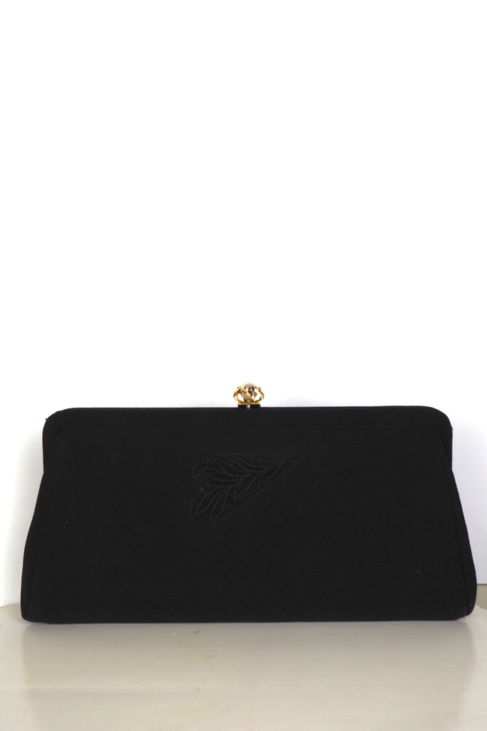 Black Evening Clutch w/Faux Pearl and Gold Clasp and Embroidered Detail