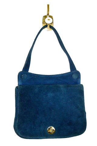 Perfect Blue Suede Handbag w/ Gold Trim And Button Detail