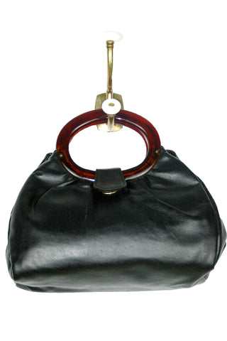 Very Soft, Black Faux Leather w/ Amber Lucite Handles