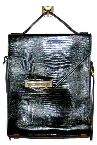 Black Faux Lizard, Leather Messenger Bag w/ Gold Trim