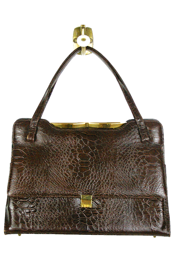 Crocodile Embossed Bag w/ Gold Trim and Feet