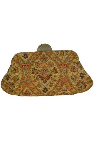 Tapestry Clutch w/ Taupe Leather Trim