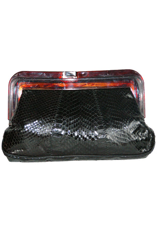 Black Snakeskin Clutch w/ Amber Lucite Closure