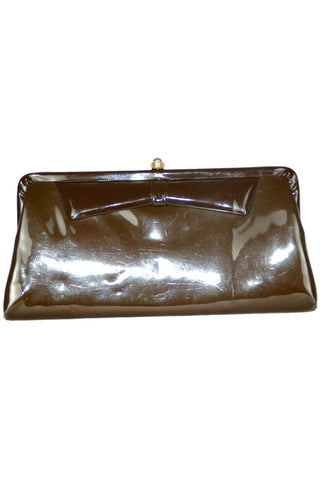 Mocha Patent Leather Clutch