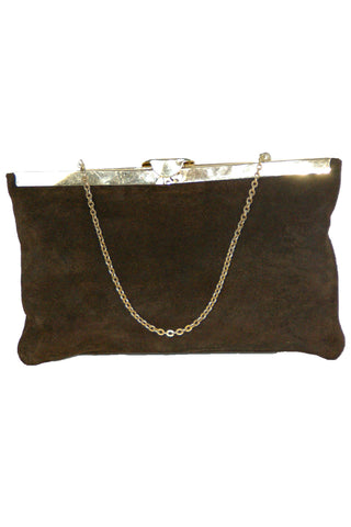 Etra, Chocolate Suede Envelope Clutch w/ Gold Trim