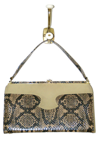 Funky Faux Python Handbag w/ Taupe Leather Accent