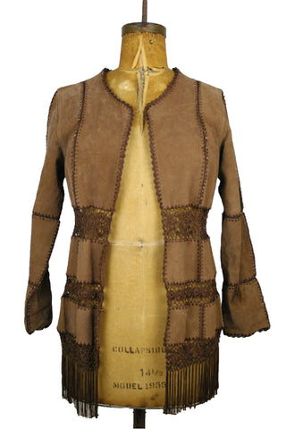 Boho Brown Suede w/Crocheted Panels Jacket
