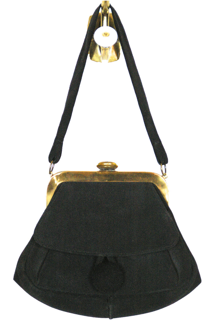 Black Satin Grosgrain Evening w/ Button Closure