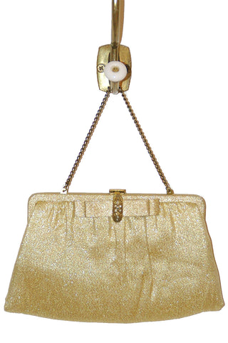 Gold Lame' Evening w/ Rhinestone Clasp