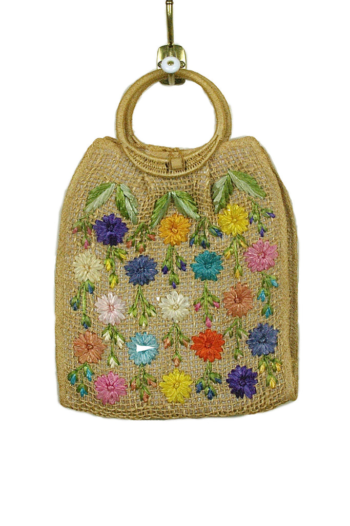 Raffia Summer Tote w/Multi-Colored Flowers
