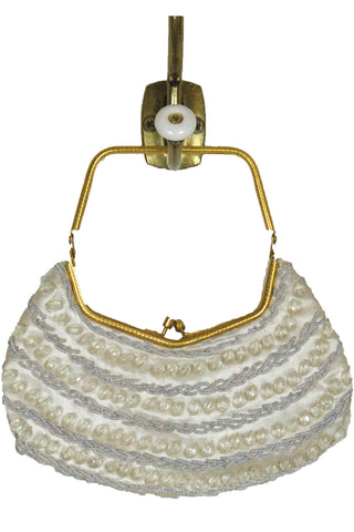 Beaded Off-White Evening w/ Gold Handle