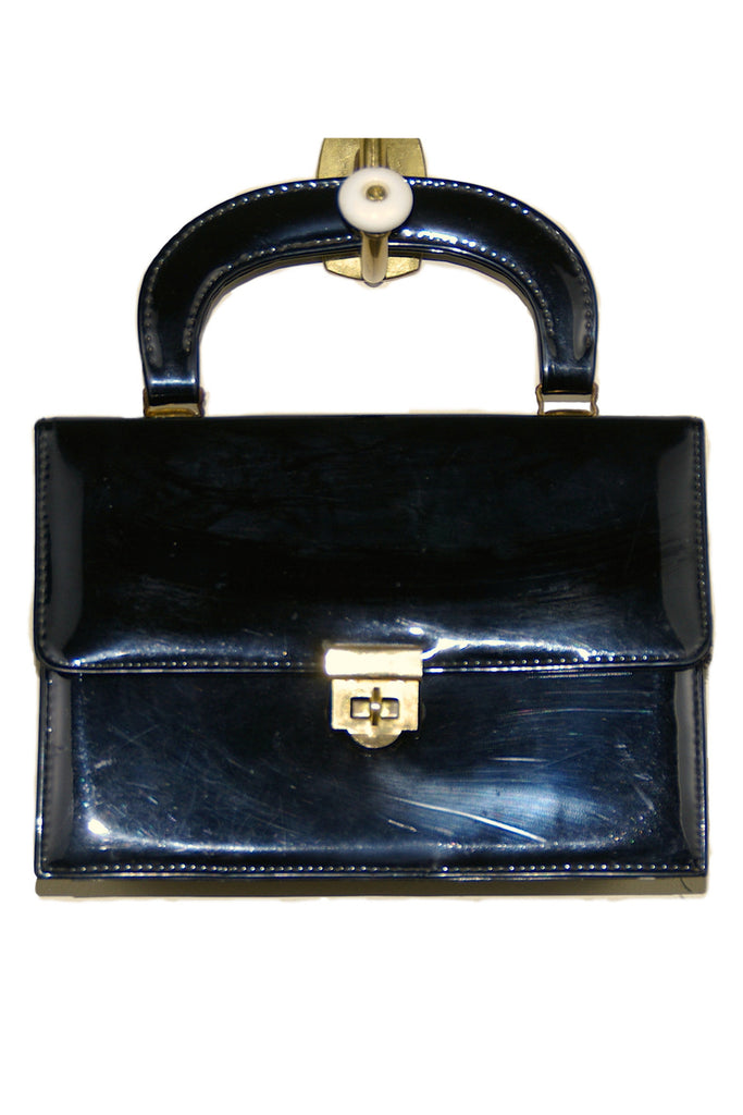 Black Patent Leather Accordian Box Style Bag