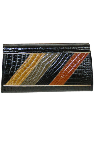 Four-Tone Patent Leather Embossed Alligator Clutch