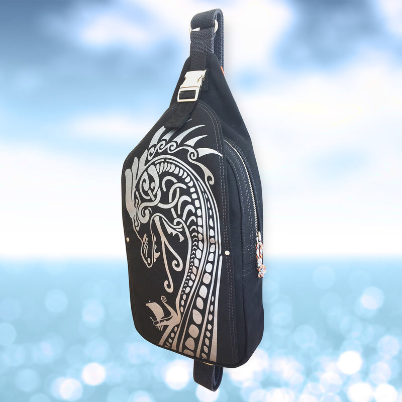 Handcrafted canvas sling bag with nordic Viking Dragon print